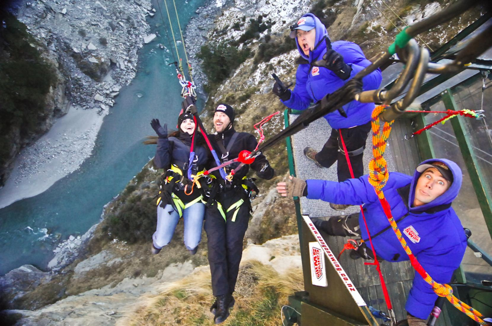 Shotover Canyon Swing Rush Brings American Couple Back For More Harness And This Time Physician Marc Helzer 40 His Wife Christina Maniaci 34 From Michigan Took To The Tandem Strung Upside Down Then Freefalling