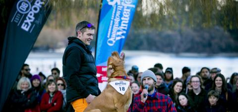 Fraser Hepburn and Lister from Queenstown impress the crowds at the DB Export Dog Barking Competition