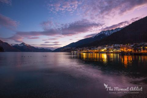Queenstown lakefront winter sunset thumbnail