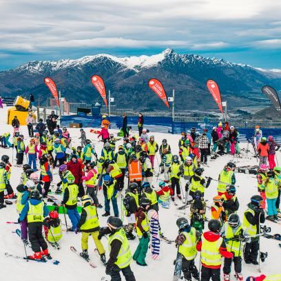 Local school students line up for school skiing at Queenstowns Coronet Peak
