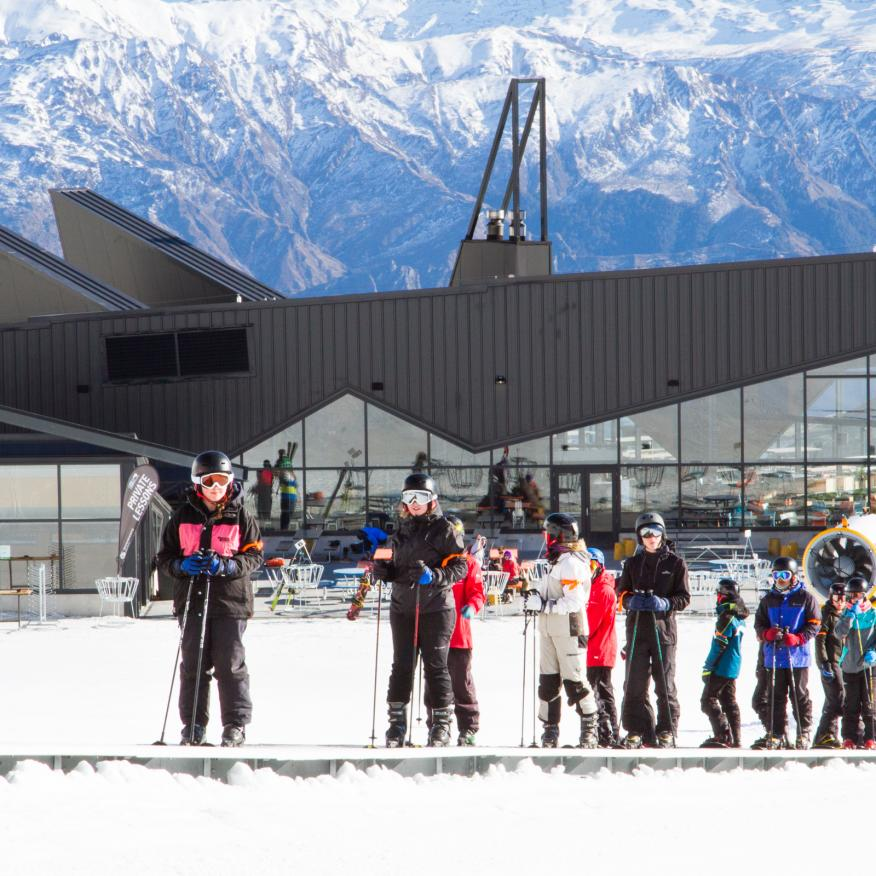 Beginners enjoying spring snow and sunshine at The Remarkables Queenstown media