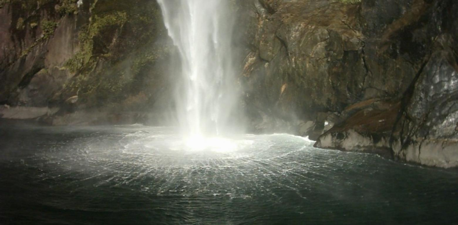 Waterfall Circle In Milford Sound2